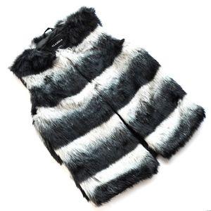 Forever 21 Faux Fur Mint & Black & White Vest